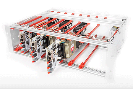 Expanding an open-frame rack with PEB modules