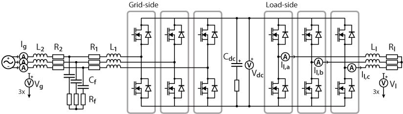 Back-to-back three-phase inverter schematics