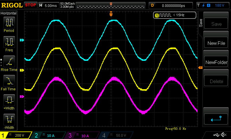 Oscilloscope measured quantities of back-to-back three-phase converter