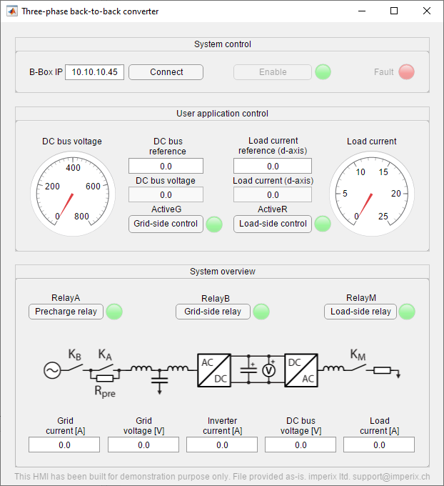 Back-to-back three-phase inverter control GUI
