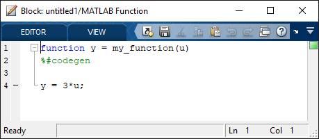 MATLAB function code editor