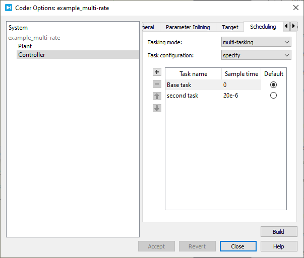 Configuration of the rates in the coder options