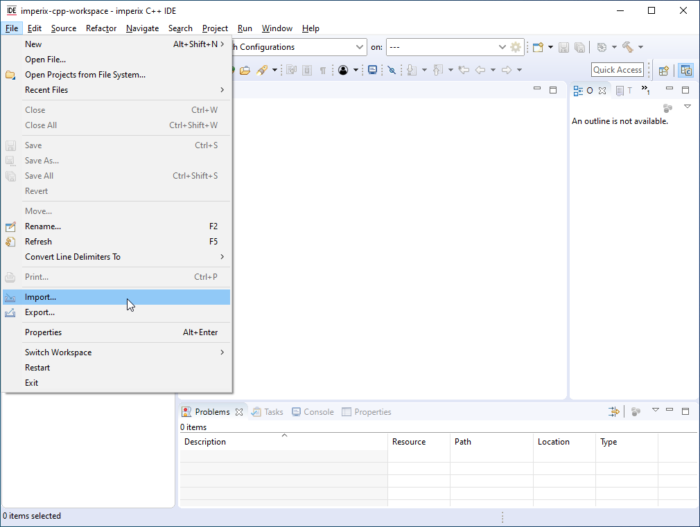 Importing an existing file into the Eclipse environment