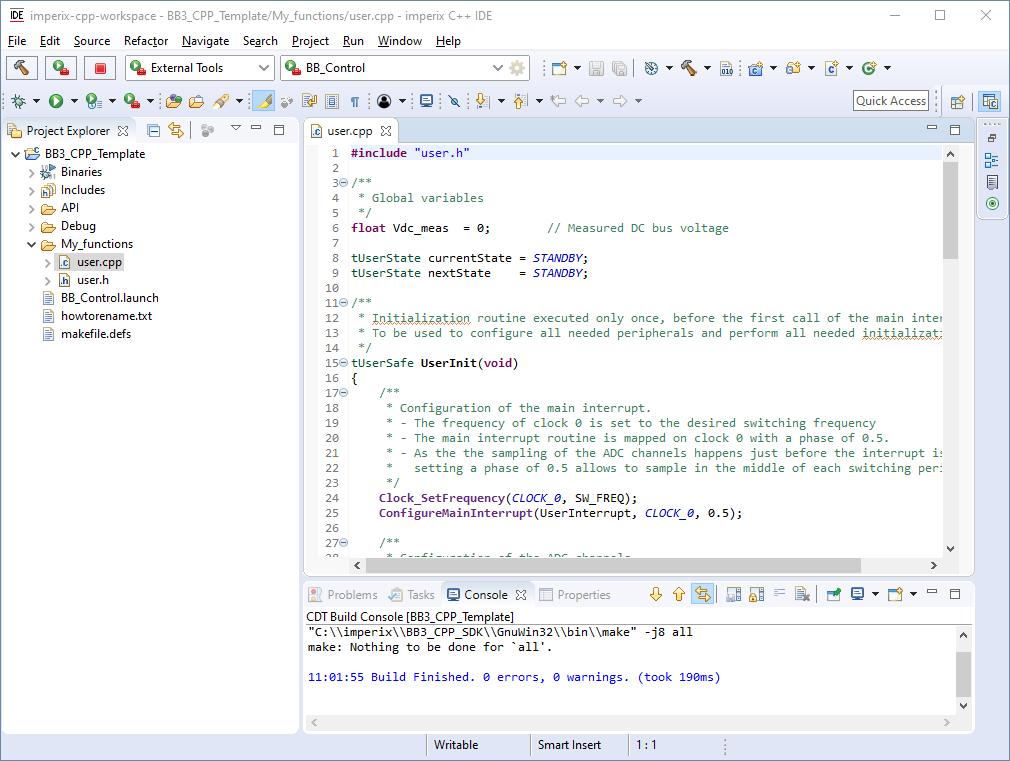 Coding environment of imperix CPP IDE
