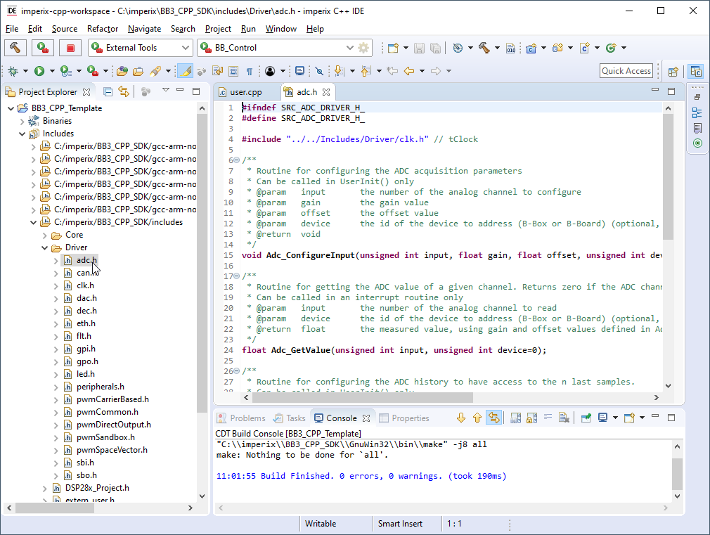 Header files of imperix CPP IDE