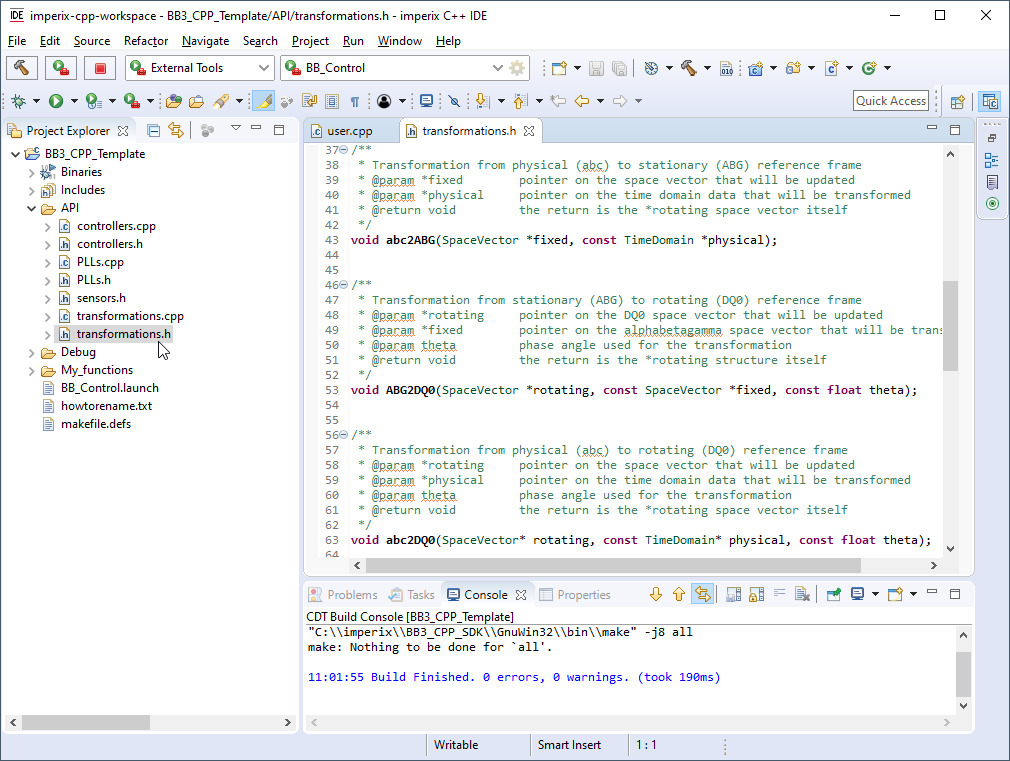 API files of imperix CPP IDE