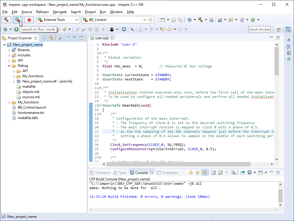 Launch code in imperix CPP IDE