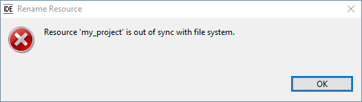 Resource is out of sync with file system