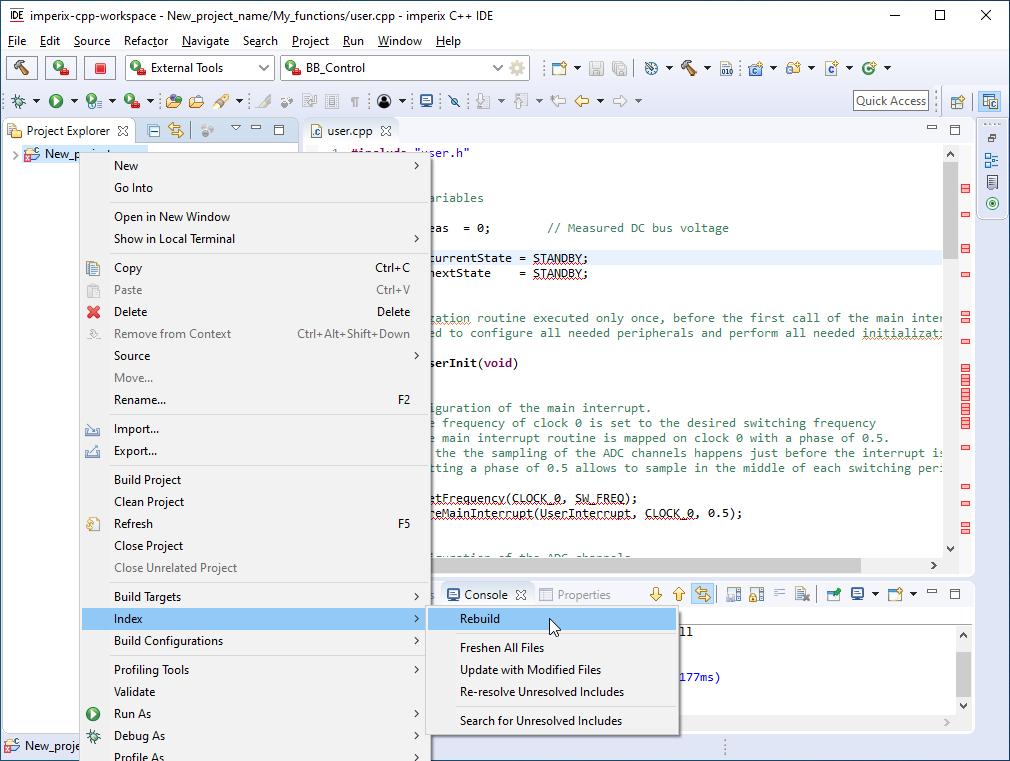 Index rebuild with imperix C++ IDE