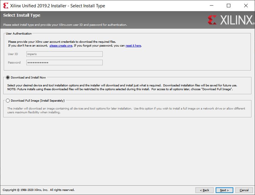 Xilinx Unified installer dialog