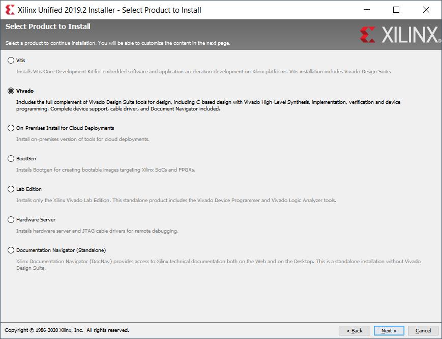 Xilinx Vivado installer dialog