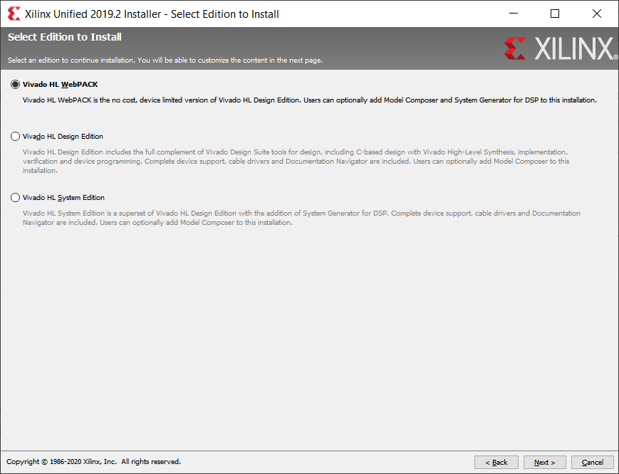 Vivado HL WebPACK installer dialog