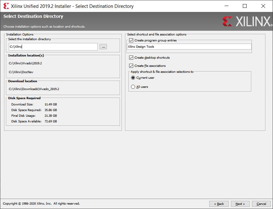 Xilinx Unified installer destination folder