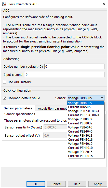 ADC sensitivity configuration dialog in Simulink