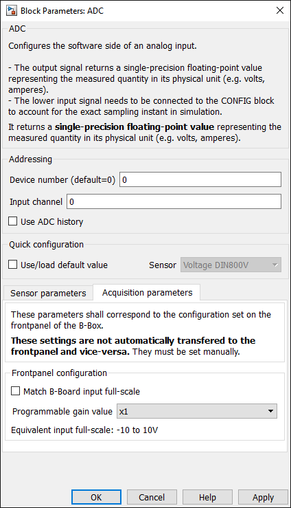 ADC gain configuration dialog in Simulink