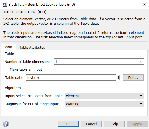 Direct lookup table dialog
