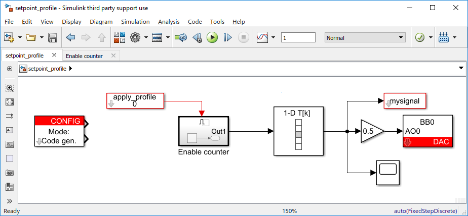 Setpoint profile example in Simulink