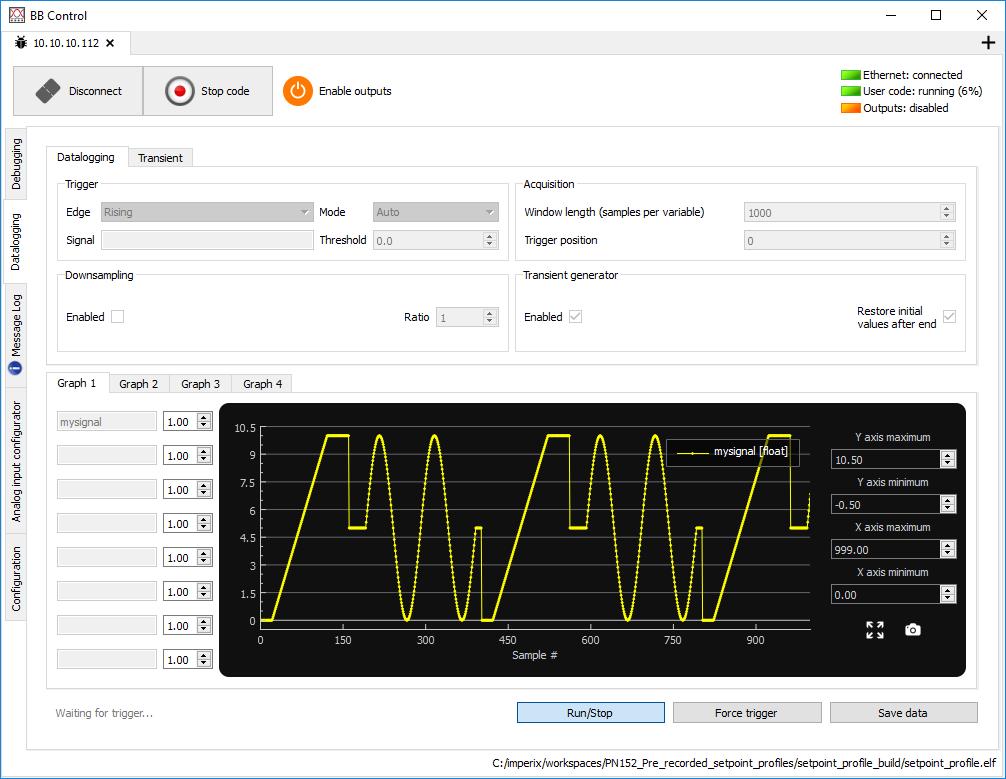 Setpoint profile datalogging in BB Control