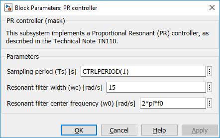 PR controller parameters