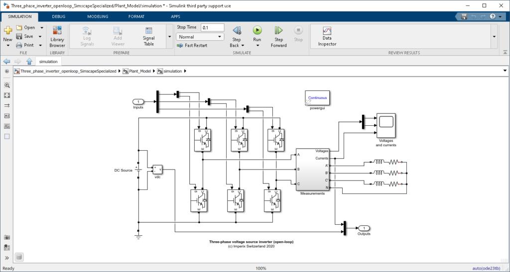 Three phase voltage source inverter Simulink plant model
