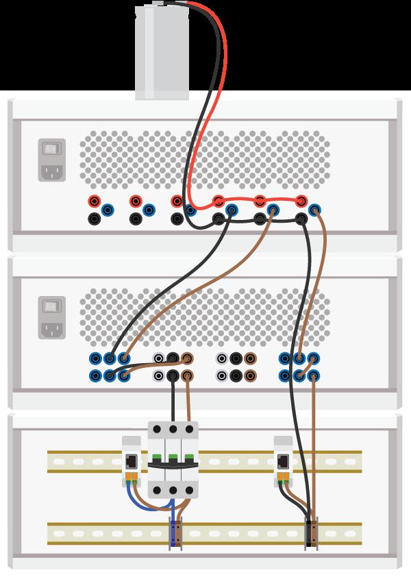 Rear view of single-phase PV inverter setup