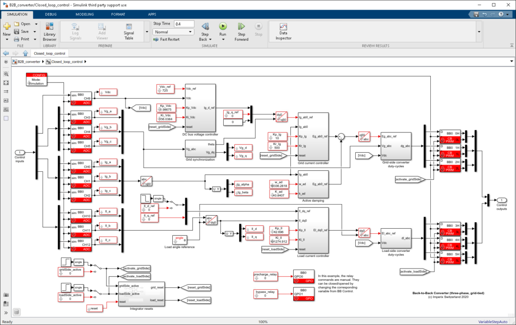 Back-to-back three-phase converter Simulink control model