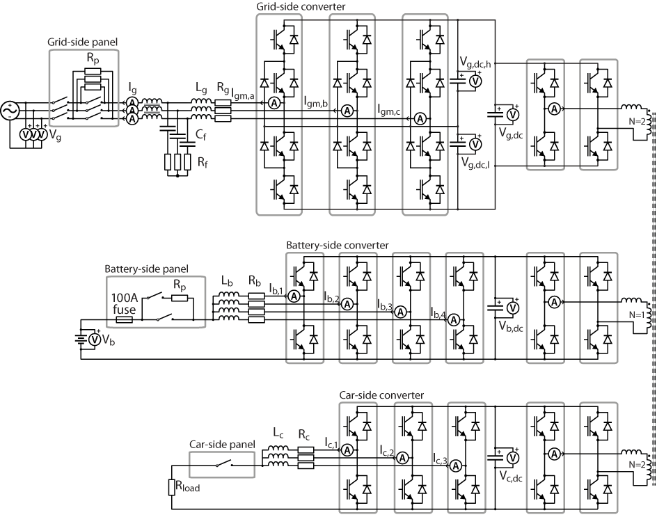 Electrical schematics of the fast electric vehicle charger setup