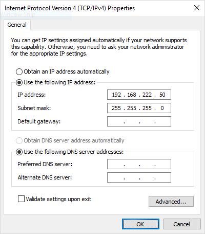 Ethernet port configuration pane