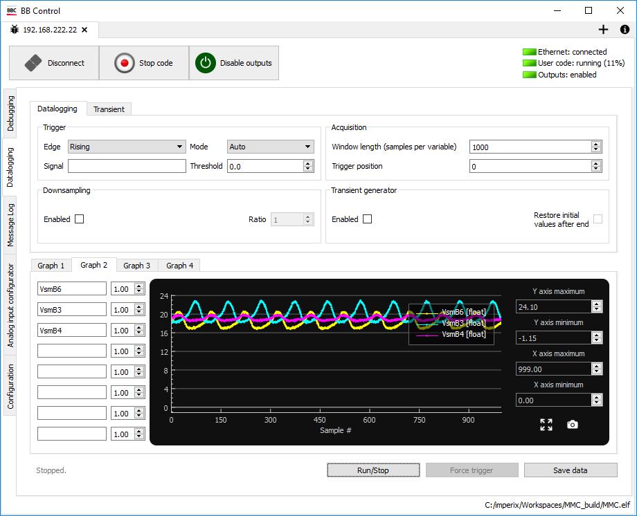 BB Control Datalogging tab