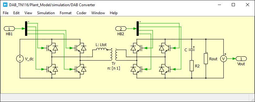 Electrical model of a DAB converter