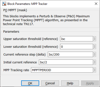 imperix P&O MPPT configuration on Simulink