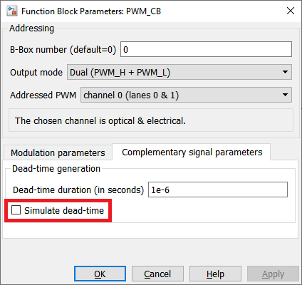Configuration dialog of the carrier-based PWM modulator