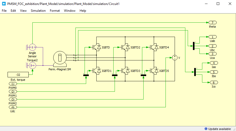 Simulation model of motor drive using PLECS Blockset