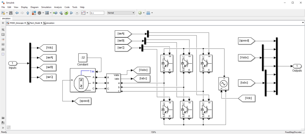 Simulation model of motor drive using Simscape Power Systems