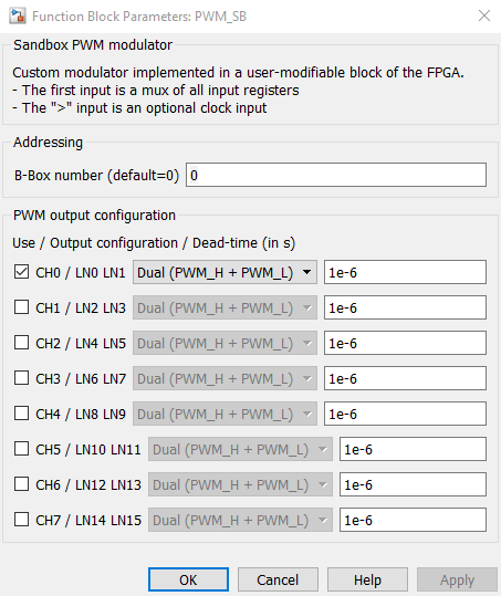 Sandbox PWM configuration dialog