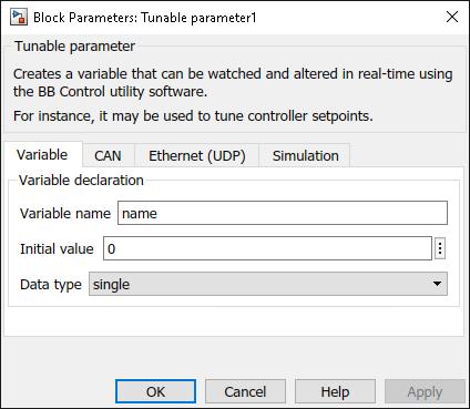 Tunable parameter Simulink variable dialog parameters