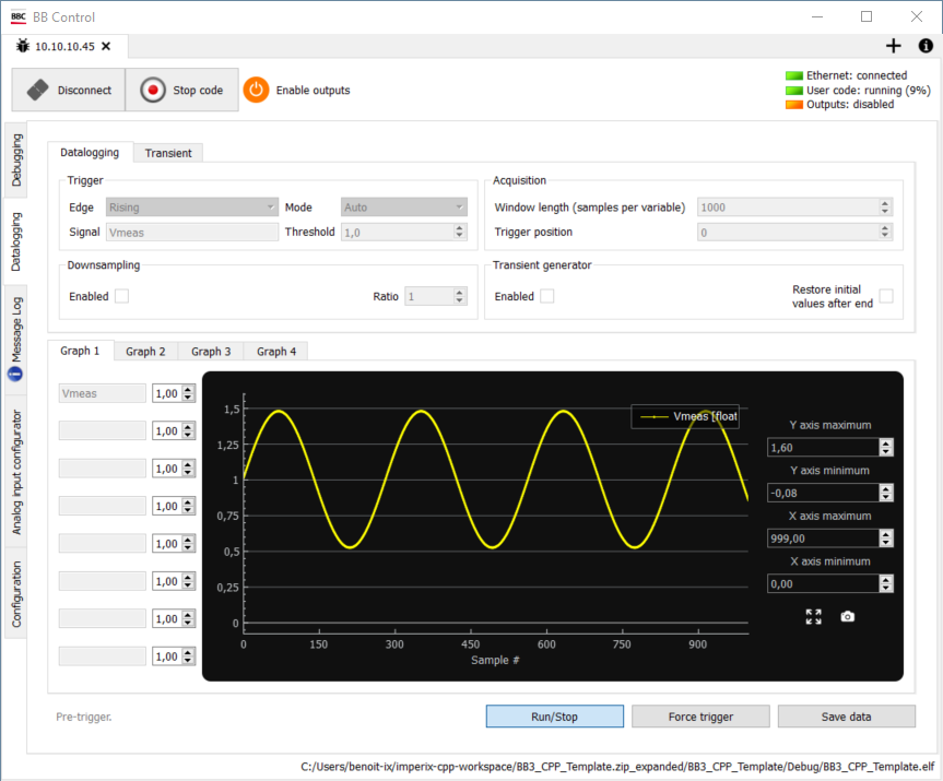 Acquired signal through SPI communication plotted in the datalogger of BB Control