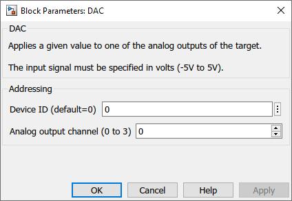 Analog output Simulink dialog parameters