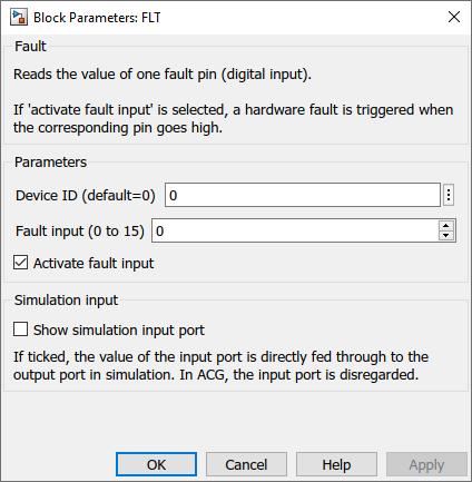 Fault inputs Simulink dialog parameters