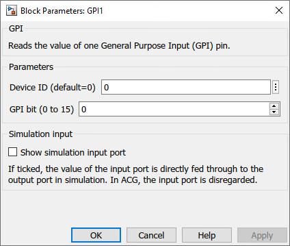 General purpose inputs Simulink dialog parameters
