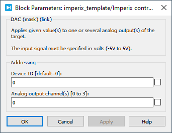 Analog output PLECS dialog parameters
