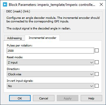 Angle decoder PLECS dialog parameters 2