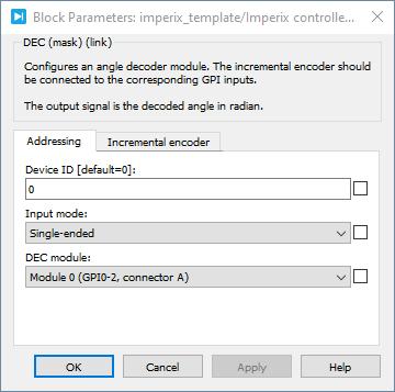Angle decoder PLECS dialog parameters 1