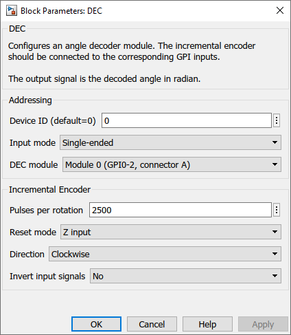 Angle decoder Simulink dialog parameters