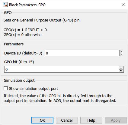 General purpose outputs Simulink dialog parameters