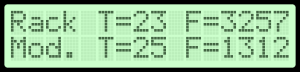LCD display showing temperature and fan speed