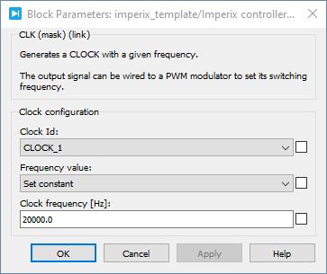 Clock generator PLECS dialog parameters