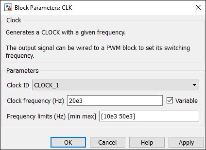 Clock generator Simulink dialog parameters