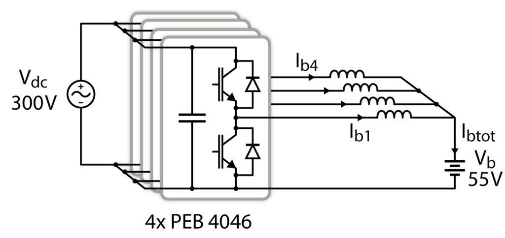 Schematics of the interleaved DC/DC converter