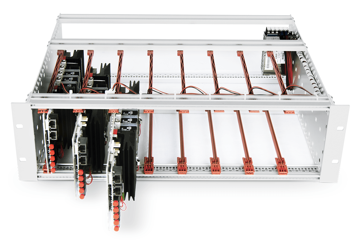 19'' rack-mountable frame with three PEH4010 H-bridge power modules.
